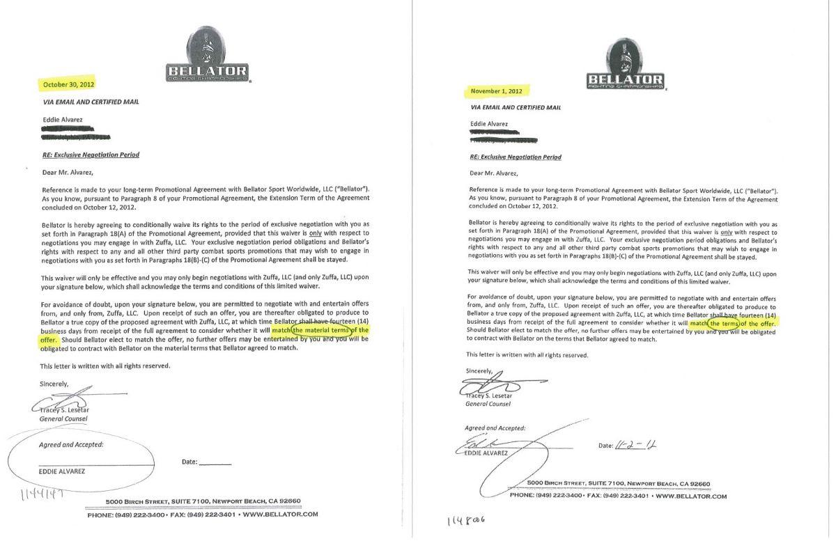 Wwe Contract Sample Eddie alvarez releases documents showing bellator ...